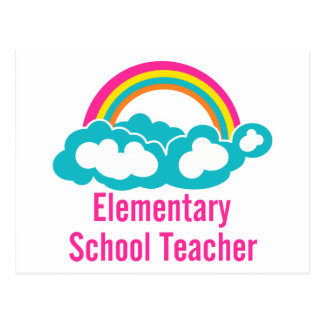 Teacher Elementary School Postcard
