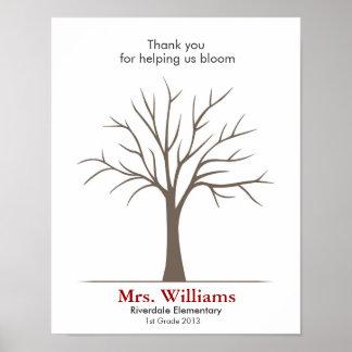 Teacher Fingerprint Tree Poster