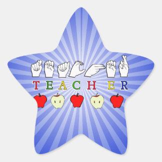 TEACHER FINGERSPELLED ASL w APPLES Sticker