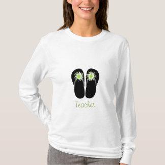Teacher Flip Flops With Green Apples & Pom Poms T-Shirt