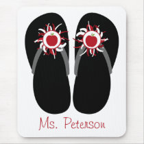 Teacher Flip Flops With Red Apples & Pom Poms Mouse Pad