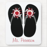 Teacher Flip Flops With Red Apples & Pom Poms Mouse Pad