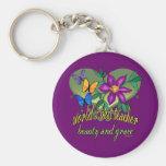 Teacher Floral Print Basic Round Button Keychain