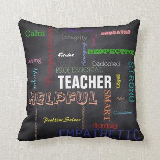 Teacher Gift Attributes Chalkboard Typography Throw Pillow