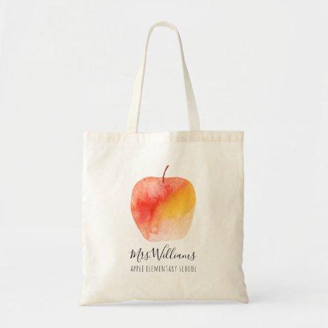 Teacher Gift Custom Name Watercolor Apple Tote Bag