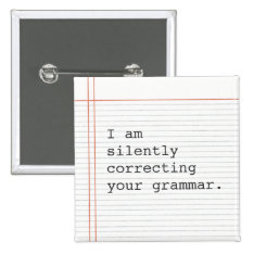 Teacher Gift, Funny Grammar Joke Button at Zazzle