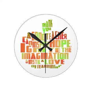 Teacher Gift Keepsake Apple Quote Thank You Round Clock