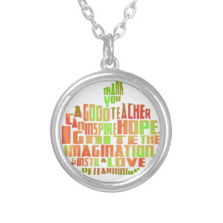 Teacher Gift Keepsake Apple Quote Thank You Silver Plated Necklace