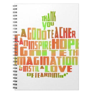 Teacher Gift Keepsake Apple Quote Thank You Spiral Notebook