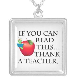 Teacher Gift Square Pendant Necklace