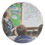 Teacher giving classroom presentation to plate