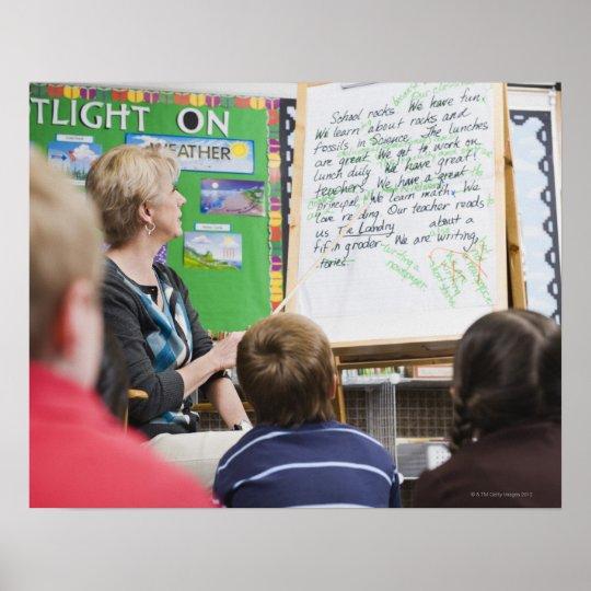 Teacher giving classroom presentation to poster