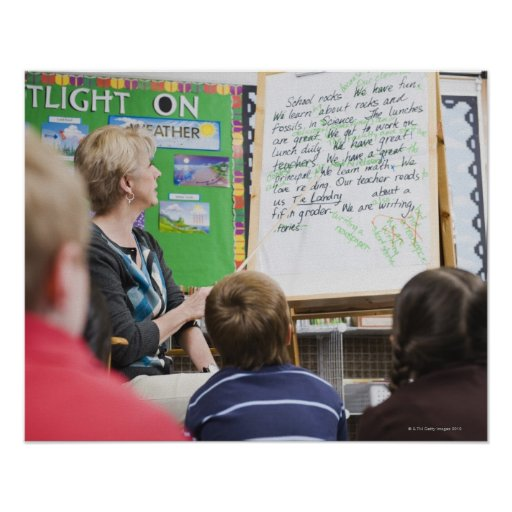 Teacher giving classroom presentation to print