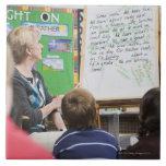 Teacher giving classroom presentation to tile