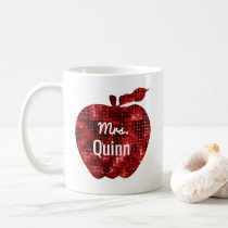 Teacher Glam Faux Sequin Red Apple Personalized Coffee Mug