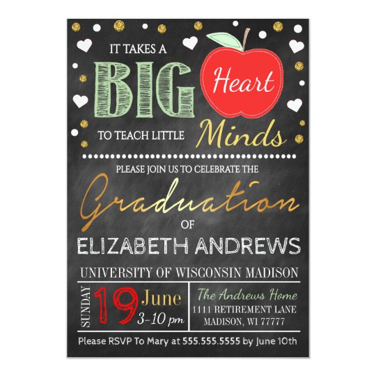teacher graduation chalkboard takes a big heart invitation zazzle com