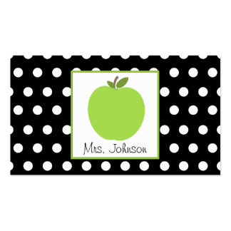 Teacher Green Apple Black With White Polka Dots Double-Sided Standard Business Cards (Pack Of 100)