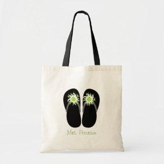 Teacher Green Apple Flip Flops With Pom Poms Tote Bag