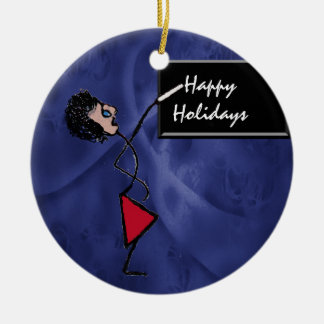 Teacher Happy Holidays at Chalk Board Double-Sided Ceramic Round Christmas Ornament