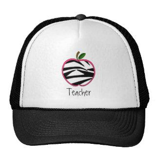 Teacher Hat - Zebra Print Apple