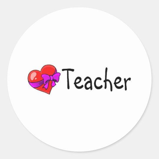 Teacher Heart Classic Round Sticker