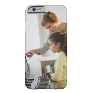 Teacher helping student in computer lab barely there iPhone 6 case