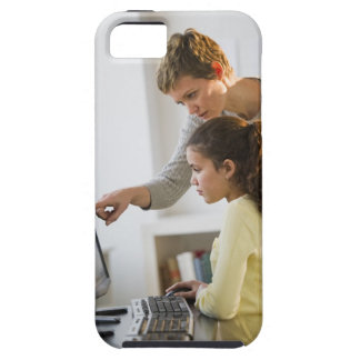 Teacher helping student in computer lab iPhone SE/5/5s case