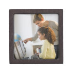 Teacher helping student in computer lab premium keepsake box