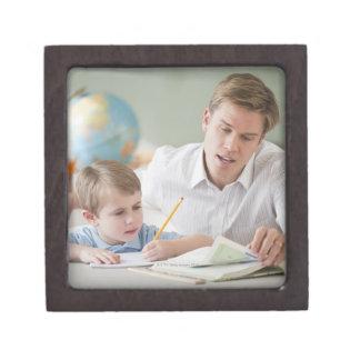 Teacher helping student with homework premium keepsake boxes