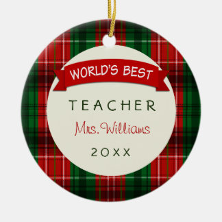 Teacher Holiday Plaid Christmas Gift Ornaments