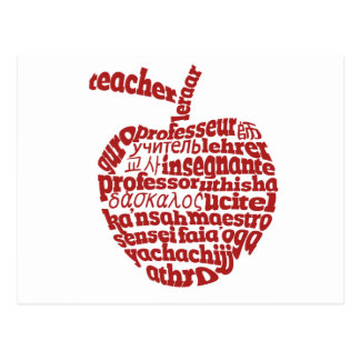 Teacher in all languages Red Apple Postcard