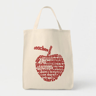 Teacher in all languages Red Apple Tote Bags