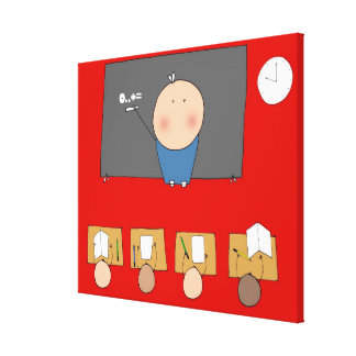 Teacher in front of classroom, elevated view canvas print