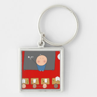 Teacher in front of classroom, elevated view keychain