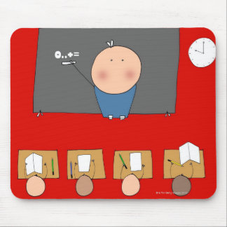 Teacher in front of classroom, elevated view mouse pad