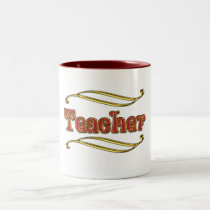Teacher in Red and Gold Two-Tone Coffee Mug