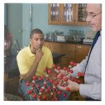 Teacher instructing students large square tile