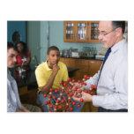 Teacher instructing students postcard