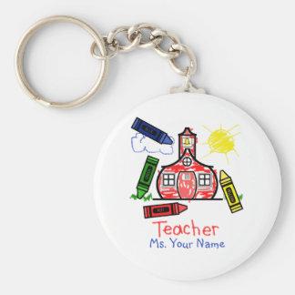 Teacher Keychain - Schoolhouse & Crayons