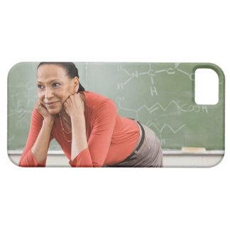 Teacher leaning on desk by chalkboard iPhone SE/5/5s case