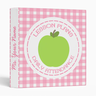Teacher Lesson Plans & Attendance Green Apple Pink 3 Ring Binder