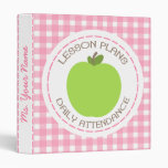 Teacher Lesson Plans & Attendance Green Apple Pink 3 Ring Binder