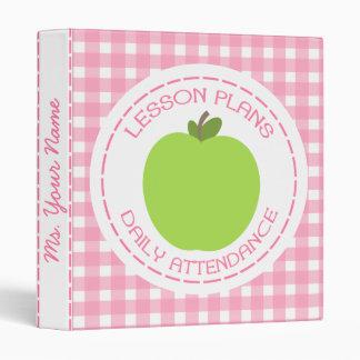 Teacher Lesson Plans & Attendance Green Apple Pink Binder