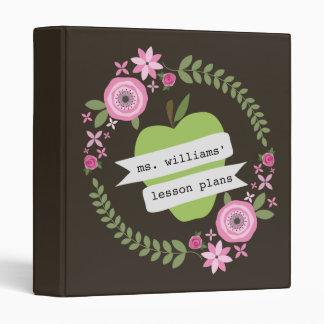 Teacher Lesson Plans Green Apple Floral - Brown Vinyl Binder