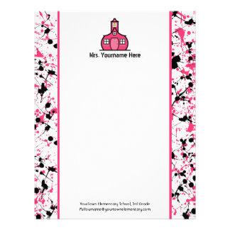 Teacher Letterhead - Pink & Black Paint Splatter