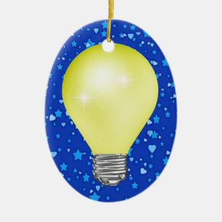 Teacher Light Bulb Double-Sided Oval Ceramic Christmas Ornament