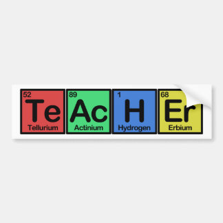 Teacher made of Elements colors Bumper Stickers