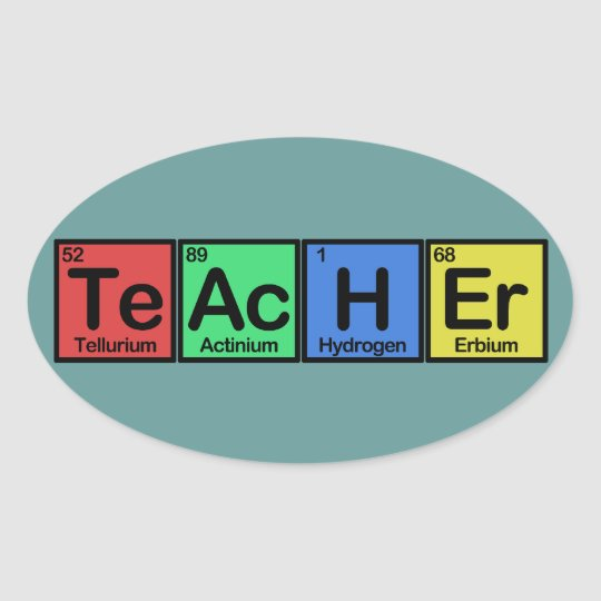 Teacher made of Elements colors Oval Sticker