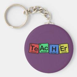Basic Button Keychain with Teacher design