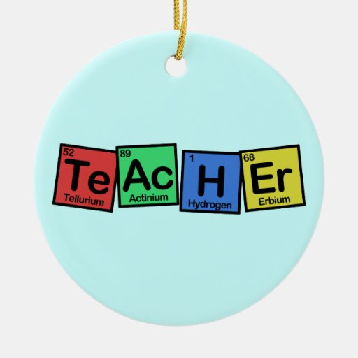 Teacher made of Elements whimsical Double-Sided Ceramic Round Christmas Ornament